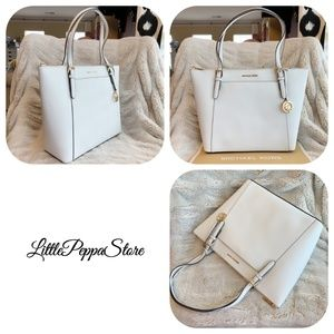 MICHAEL KORS CIARA EAST WEST TOTE OPTIC WHITE